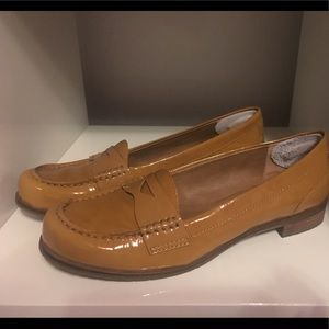 Tan patent leather penny loafers
